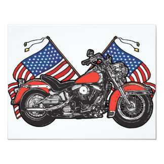 American Flags Patriotic Motorcycle 4.25x5.5 Paper Invitation Card