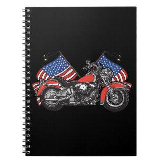 American Flags Patriotic Motorcycle Notebook Spiral Notebook