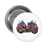 American Flags Patriotic Motorcycle Pinback Button