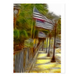 American flags post card