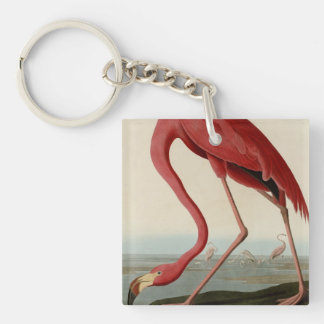 American Flamingo Double-Sided Square Acrylic Keychain