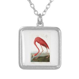 American Flamingo John Audubon Birds of America Square Pendant Necklace