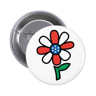 American Flower Pinback Buttons