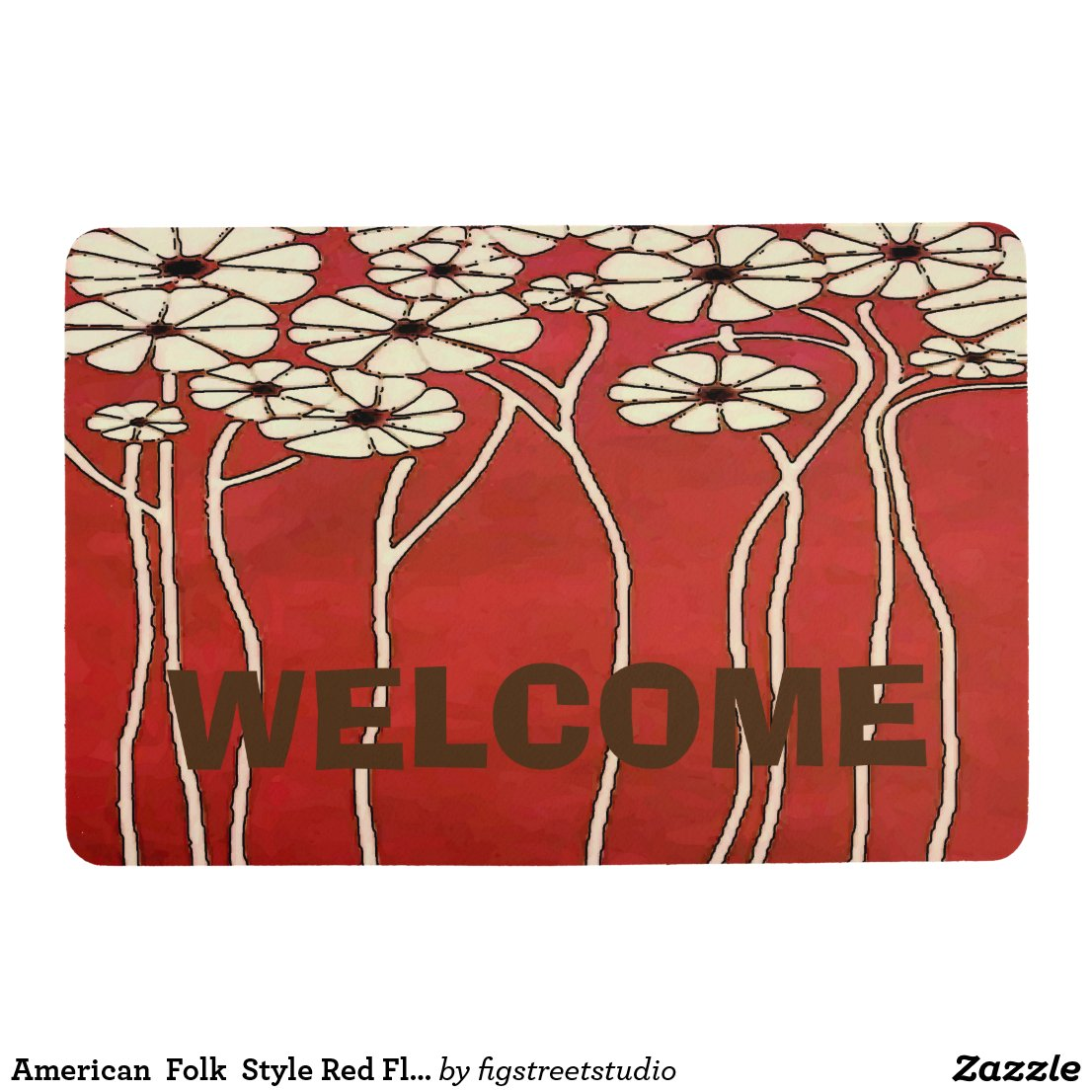 American Folk Style Red Flowers