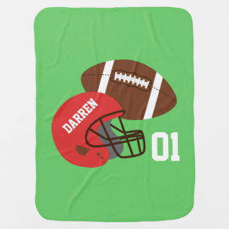 American Football and Red Helmet Baby Boy Baby Blanket