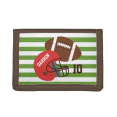 American Football and Red Helmet Trifold Wallets at Zazzle