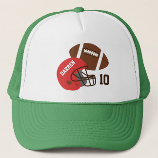 American Football and Red Helmet Trucker Hat