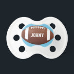 "American Football Baby Boy Custom Name/Text Cute Pacifier<br><div class=""desc"">American Football Baby Boy Custom Name/Text Cute Pacifier: Give the newborn football fan his own personalized football pacifier. Simply type his name in the text box to personalize it!</div>"