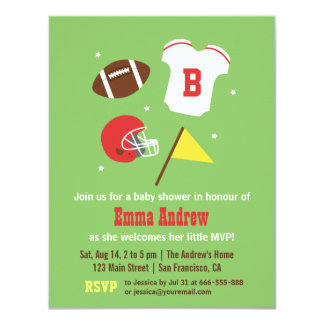 American Football Baby Shower Party Invitations