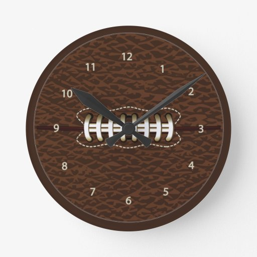 Football Design Wall Clock : American football ball wall clock zazzle