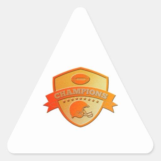 american football champions shield triangle sticker