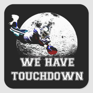 """American football dive """"We have touchdown"""", Square Sticker"""
