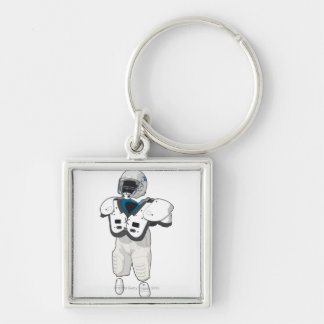 American football gear Silver-Colored square keychain