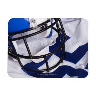 American football helmet and shirt still life rectangular magnet