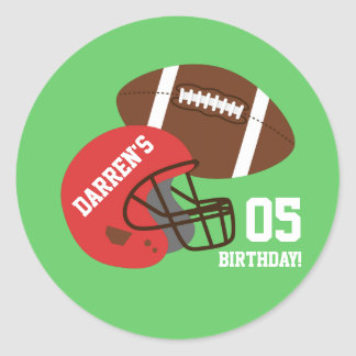 American Football Kids Birthday Party Classic Round Sticker