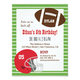 American Football Kids Birthday Party Invitations 4.25