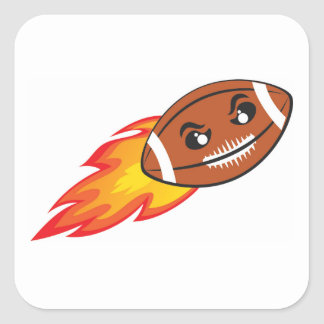American football on fire square sticker