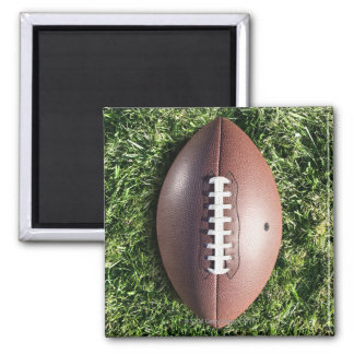 American football on grass 2 inch square magnet