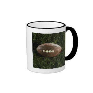 American football on grass, view from above ringer coffee mug