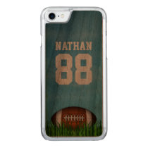 American Football on the Grass and Blue Sky Wood Carved iPhone 7 Case