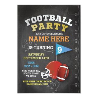American Football Party Blue Birthday Invitation