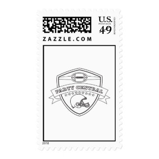 american football party central shield stamp