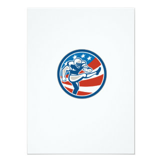 American Football Placekicker Circle Retro 14 Cm X 19 Cm Invitation Card