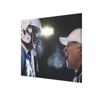 American football player and referee arguing, canvas print