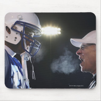 American football player and referee arguing, mouse pad