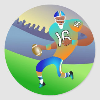 American football player cartoon classic round sticker