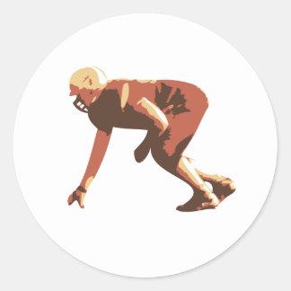 american football player classic round sticker