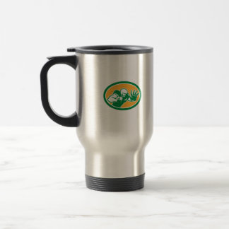 American Football Player Fend Off Oval Retro Coffee Mugs