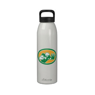American Football Player Fend Off Oval Retro Reusable Water Bottles