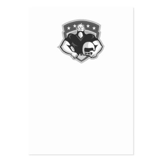 American Football Player Helmet Grayscale Business Card Template