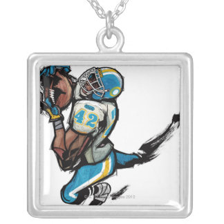 American football player holding ball silver plated necklace
