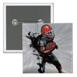 American football player holding football 2 inch square button