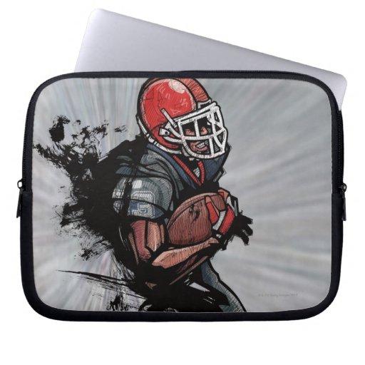 American football player holding football computer sleeve