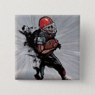 American football player holding football pinback button