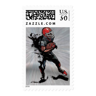 American football player holding football postage