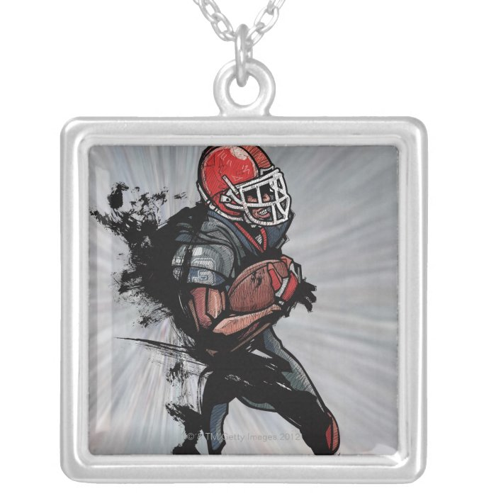 American football player holding football silver plated necklace