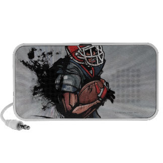 American football player holding football iPod speakers