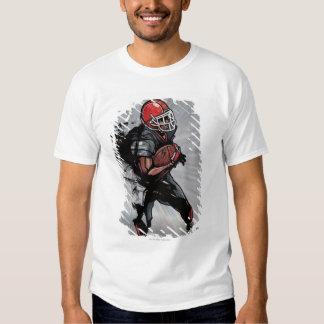 American football player holding football t-shirt