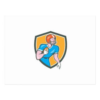 American Football Player Rusher Shield Retro Postcard
