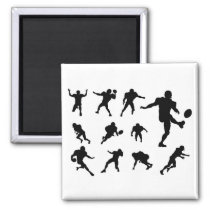 American Football Player Silhouettes Magnet