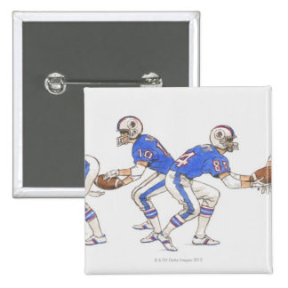 American football players demonstrating moves pinback buttons