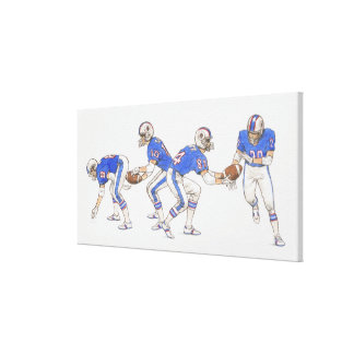 American football players demonstrating moves canvas print