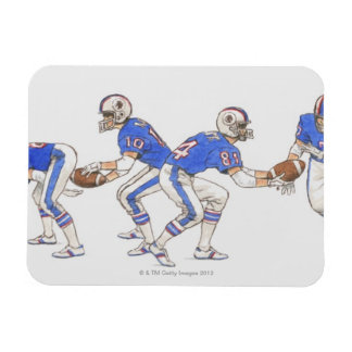 American football players demonstrating moves magnet