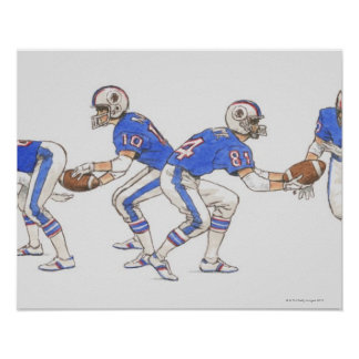 American football players demonstrating moves poster