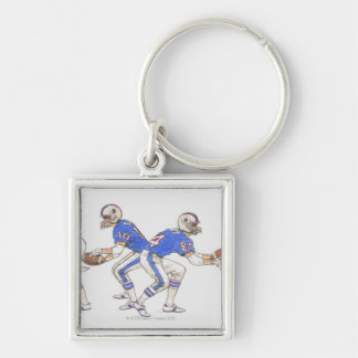 American football players demonstrating moves Silver-Colored square keychain