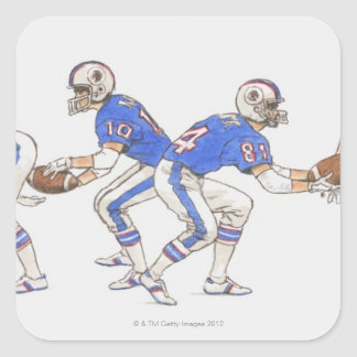 American football players demonstrating moves square sticker